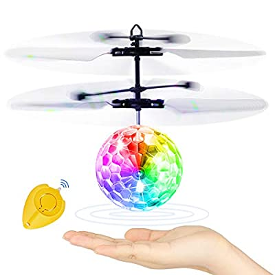 Betheaces Flying Ball, Kids Toys RC Flying Hover Disco Ball Toy Helicopter Drone Infrared Induction with Built-in Flashing LED Light Gifts for Boys Girls Teenagers Indoor and Outdoor Handheld Games