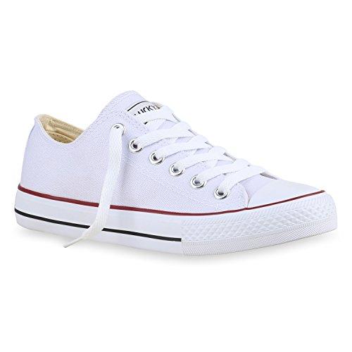 stiefelparadies Damen Schuhe Sneakers Freizeit Schuhe Stoffschuhe Sportschuhe 133786 Weiss Rotstreifen Ambler 36 Flandell