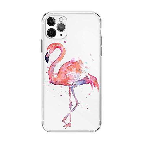 FancyHülle Kompatibel mit iPhone 12 Mini (5,4 Zoll) Tiermuster Weiche Silikon Schutzhülle Transparent iPhone 12 Mini Hülle (Pink Flamingo)
