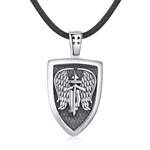 Collar Ángel de la Guardián para Hombre, Plata de ley 925 Medalla de Arcángel San Miguel Amuleto Colgante Ángel Cruz Collar Joyas Regalos con cuerda de cuero Cadena de 22'