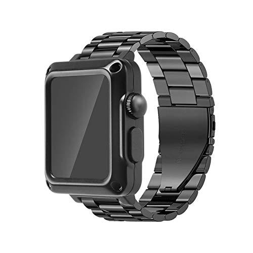 SGGFA Case+Cinturino Per Apple Watch Band 44 Mm 42mm 42mm 40mm Acciaio Inox Bracciale Metallo SE 6 5 4 3 Cover Protettiva (colore : Nero, Diametro Quadrante: 40mm per 4 5 6 SE)