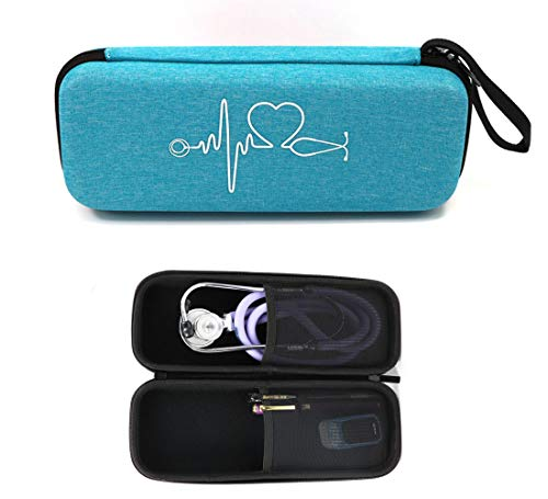 Stethoscope Carrying Case for 3M Littmann Classic III/Lightweight II S.E/Cardiology IV Stethoscope/MDF Acoustica Deluxe Stethoscope and More, Mesh Pocket for Nurse Accessories (Blue)