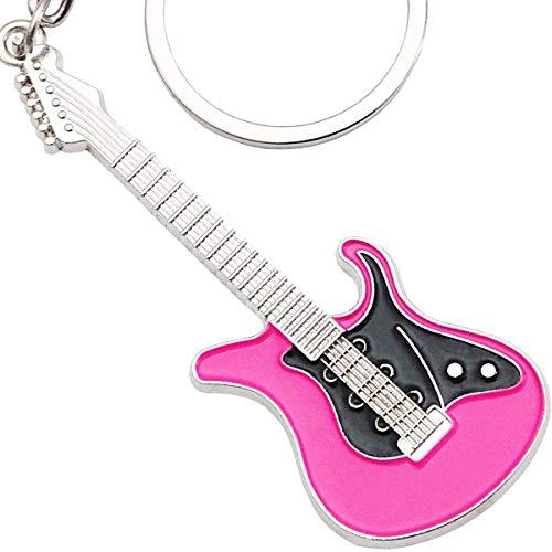 keepdrum E-Gitarre Schlüsselanhänger aus Metall Pink
