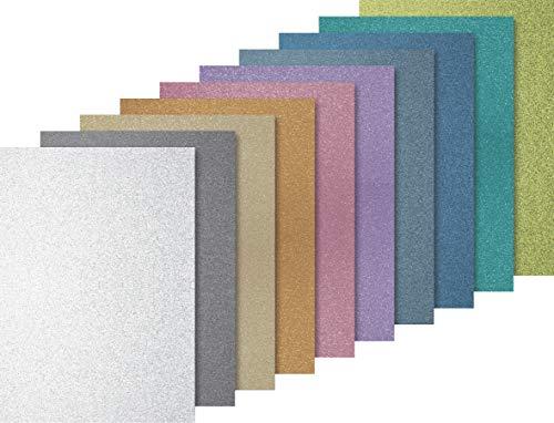 Heyda Glitterkarton Sortiment Light, A4, 10 Blatt, Basisfarbe hell