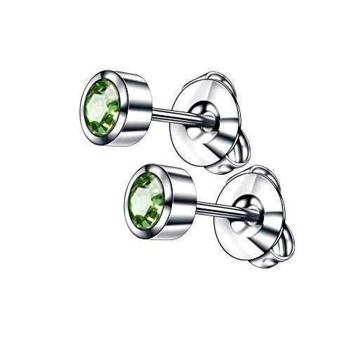 2 uds pendientes de acero para piercing de oreja pistola de piedra de nacimiento gema pendientes de botón de oreja de color oro / plata tachuelas cartílago tragus joyería del cuerpo-Plata-Verde Oliva