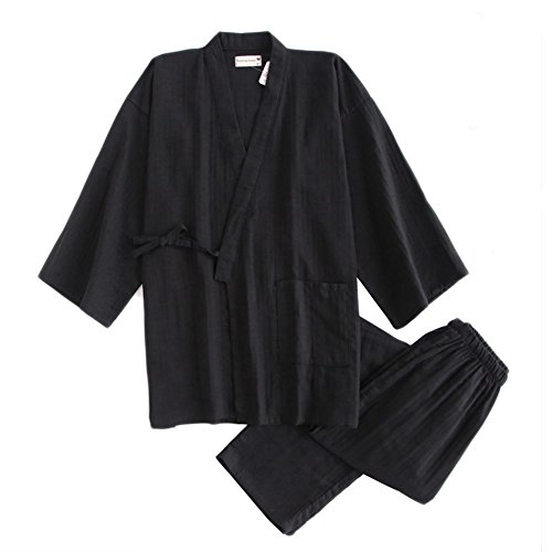 Traje de Pijama de Traje de Pijama de algodón japonés de Doble Gasa Estilo japonés para Hombres [Negro, L]
