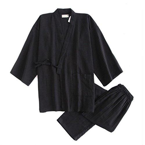 Fancy Pumpkin Traje de Pijama de Traje de Pijama de algodón japonés de Doble Gasa Estilo japonés para Hombres [Negro, L]