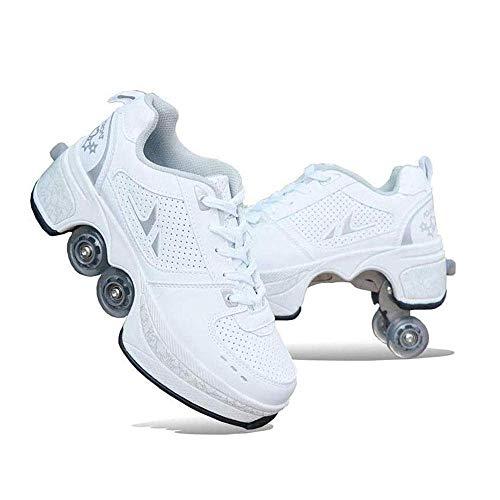 YXIAOL Roller Skates, Skating-Schuhe Für Männer Und Frauen Automatische Wanderschuhe Für Erwachsene Unsichtbare Riemenscheibenschuhe Skates Mit Zweireihigem Deform-Rad