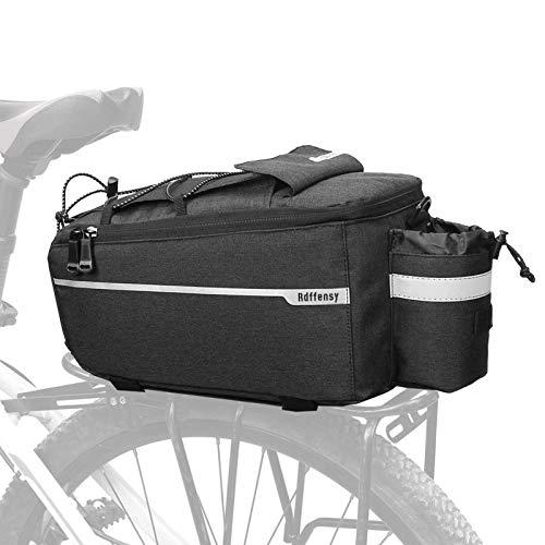 Rdffensy Bike Rack Bag, Bike Rear Seat Cargo Bag, 8L Insulated Bicycle Trunk Pannier Bag Storage Luggage Bag Waterproof with Reflective Stripes Black