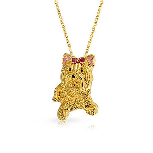 Bling Jewelry BFF Bester Freund Yorkshire Terrier Rosa Schleife Welpe Hund Anhänger Mit Kette Für Damen Für Jugendlich 14K Vergoldet