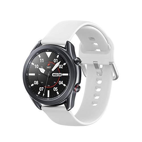 Tech-Protect - Correa para Samsung Galaxy Watch 45 mm, compatible con Galaxy Watch 3, correa deportiva de silicona suave, color blanco