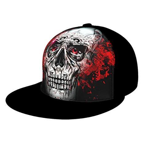 Teen Studenten Kappe Mütze Rote Augen Schädel Totenkopf Print Mesh Sports Hut Cap mit Schirm Sonnenhut für Herren und Damen Black OneSize