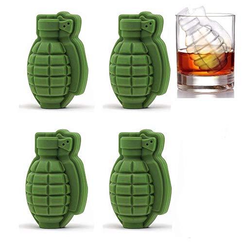 JZK 4 x Silikon 3D Granate Ice Cube Formen Eiswürfelform Eiswürfelbehälter Eiswürfelform zum Whiskey Scotch Cocktails Kaffee Fruchtsaft und Getränke