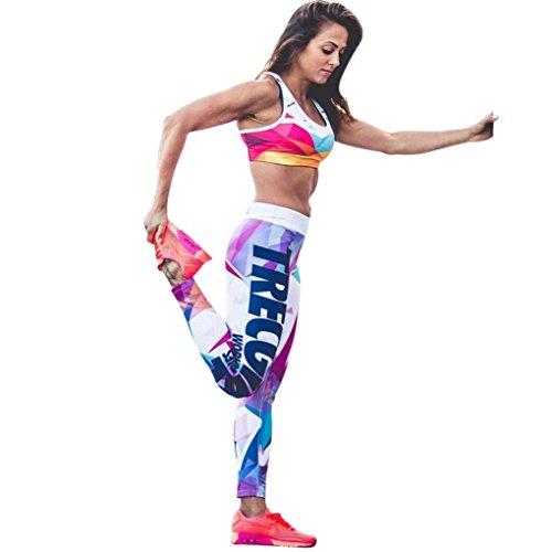 Yoga Leggings Hose, ABsoar Strumpfhose Sporthose Geometrie Muster Hosen Mittlere Taille Pants Trainingshose Patchwork Leggings Bleistifthosen Sport Fitness Hosen (M, Weiß)