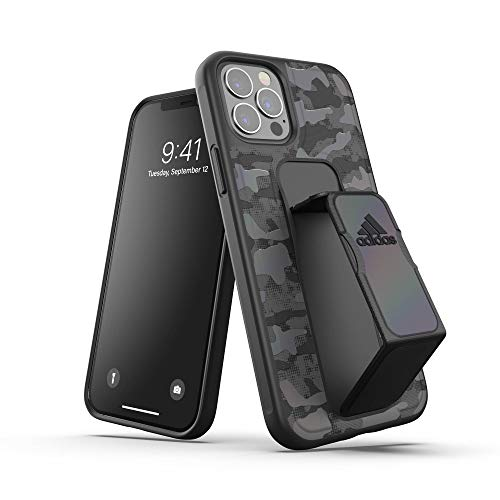 adidas Funda diseñada para iPhone 12 / iPhone 12 Pro 6.1, diseño de Camuflaje, Correa de Mano, Fundas a Prueba de caídas, Bordes elevados, Color Negro