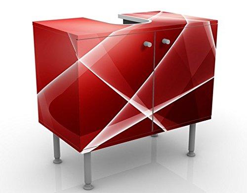 Apalis Waschbeckenunterschrank - Red Turbulency - Badschrank Rot, Größe: 55cm x 60cm