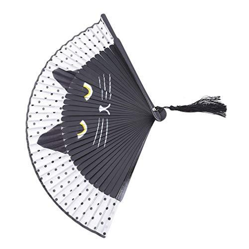 PULABO Abanico de seda plegable para mujer, ideal para bodas, bailes de iglesia, fiestas, regalos de color negro, calidad superior, práctico y rentable