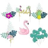 15 piezas de decoración de tartas de flamencos,flamencos decoración de tartas de cumpleaños para tropical hawaiano Luau playa boda cumpleaños fiesta temática suministros