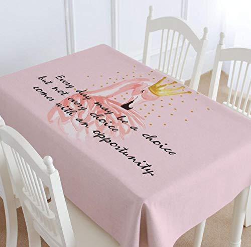 LJJFZP Mantel Rectangular de Lino Impermeable y Resistente a Las Manchas – Boda Fiesta Restaurante Cafetería Cocina Picnic Manteles, algodón y Forro, Flamingo 8, 140X220CM