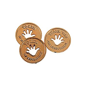 Fun Express Token of Appreciation Coins  Set of 144 Thank You Rewards  Perfect for Caught You Being Good School Supplies