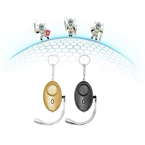 Personal Alarm-130DB Vigilant Bell, LED Flashlight & Key Chain. Security Horns & Sirens for Self Defense in Emergency, Helpful Device for Elder, Student, Kid, Night Worker, Jogger (2pc)