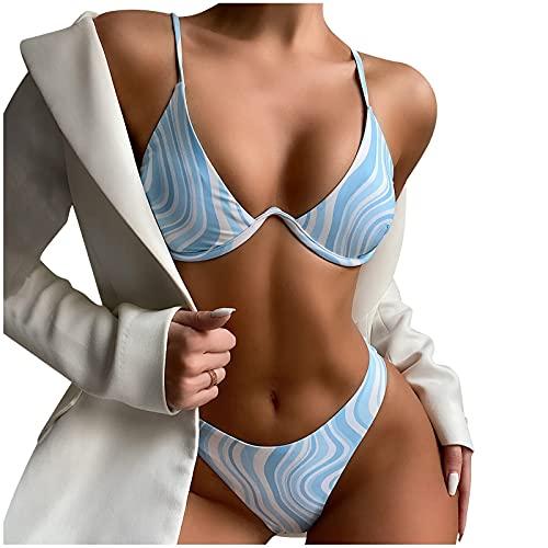 Bikinis Mujer 2021 de Dos Piezas Traje de Baño de Estampado Rayas Ropa de Baño con Acolchado Retirable Conjunto de Bañadores con Correas Ajustables Swimwear Ideal para Piscina,Vacaciones,Mar