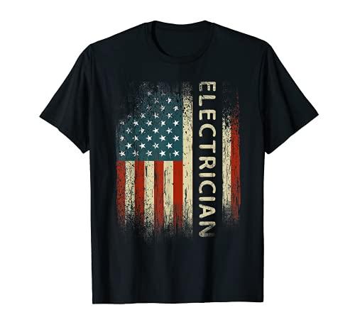 Hombre Patriótico electricista regalos bandera estadounidense divertido lineman Camiseta