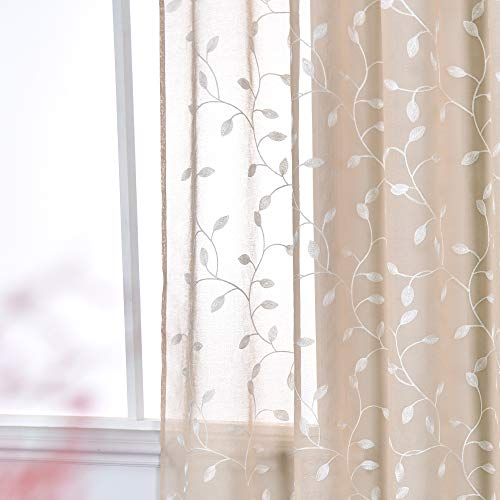 KEQIAOSUOCAI Faux Linen Leaf Embroidery Semi Sheer Curtains for Living Kids Room - White Leaf Pattern and Beige Background Rod Pocket Sheer Curtain Panels for Bedroom (52 Wx72 Inch Length,2 Panels)