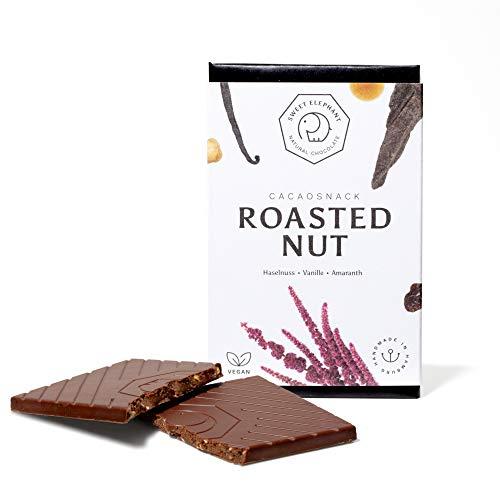 "Sweet Elephant ""Roasted Nut""   vegane Nussbeerschokolade mit gerösteten Haselnuss, Amaranth und Vanille - 100% Plastik frei   3 Tafeln"