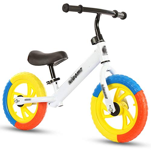 LJHSS Bicicleta De Equilibrio for Niños De 12 Pulgadas, Patinete De Patinaje sobre Ruedas De Color, Bicicleta Yo, Adecuada for Una Altura De 80 Cm-120 Cm (Color : White)
