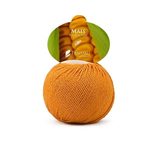 50g Pascuali Mais Wolle Strickwolle Naturgarn vegan aus 100% Polylactid (aus Mais-Zellstoff) Baby-Garn, Baby Wolle, Farbe:Clementine 129