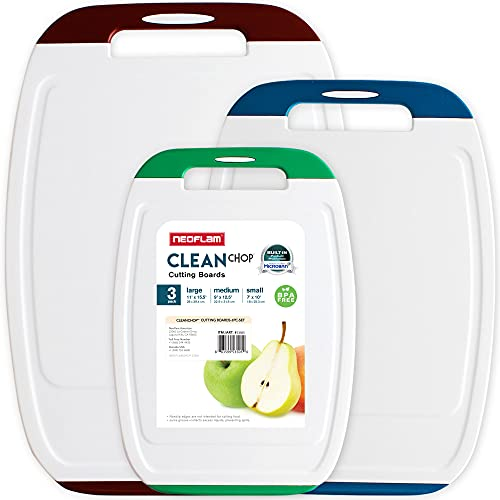 Neoflam Microban Antimicrobial Protection Cutting Board 3 Piece Set, Stain & Odor/BPA Free, Reversable Board, Upgraded Larger Juice Groove, Non-Slip EZ Grip Handle, Dishwasher Safe, Multicolor