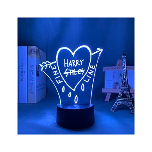 Luz De Noche Led 3D Harry Styles Lámpara De Regalo para Fanáticos Decoración De Dormitorio Luz Led Sensor Táctil Que Cambia De Color Lámpara De Escritorio De Trabajo Harry Styles