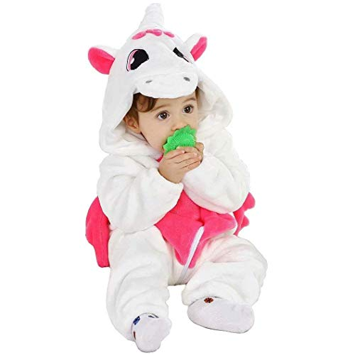 LOLANTA Baby Mädchen Schweinchen Einhorn Kostüm, Kapuze Flanell Strampler Strampler, Halloween-Kostüm-Weihnachtsgeburtstagsgeschenk