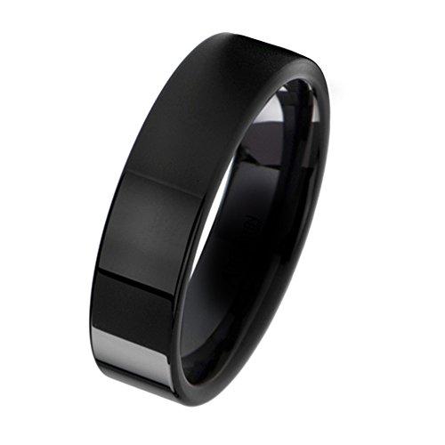 Gemini Damen-Ring Titan , Herren-Ring Titan , Freundschaftsringe , Hochzeitsringe , Eheringe, Schwarz, Breite 6mm Größe 77 (24.5)