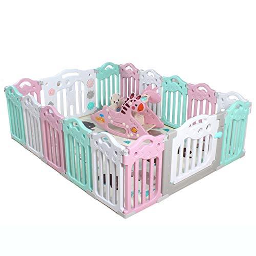 LYYXWL - Maisons de jardin Baby Safety Play Yard Chaise Berceau intégrée Bleu/Rose pour bébés et Tout-Petits avec Panneau d'activité et Porte - 16 Panneaux en Plastique colorés