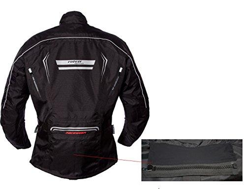 Schwarze Motorradjacke mit Protektoren, Belüftungssystem, Klimamembrane und herausnehmbarem Thermofutter - 12