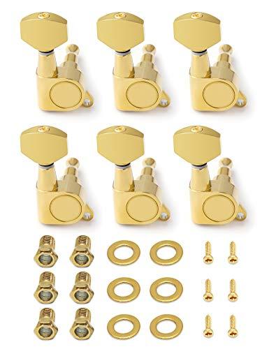 Metallor Sealed String Tuning Pegs Tuning Keys Grover Machine Heads Tuners 6 In Line Right Hand E-Gitarre Ersatzteile Ersatz gold