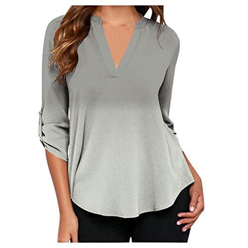 MRULIC Damen Kurzarm T-Shirt Rundhals Ausschnitt Lose Hemd Pullover Sweatshirt Oberteil Tops (EU-40/CN-L, A-Weiß)