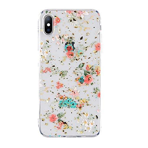 HuXwei Funda con teléfono para iPhone 78 Plus Flower Gold Powder Fundas Transparentes para iPhone XS MAX XR XS Mandala de Encaje Cubierta Floral Capa, AC2994 Gold, para iPhone 8 Plus