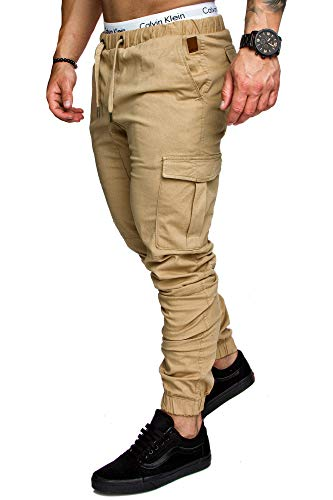 Amaci&Sons Jogger Cargo Herren Chino Jeans Hose 7001 Beige W32