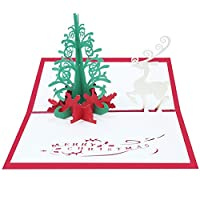 1個/ 5個/ 10個 新年3Dクリスマスカードクリスマス熱気球サンタスノーマンエルク手作りカードペーパーカービングクリスマスギフトカード (AB446,5個)