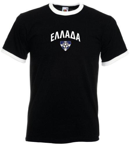 Fruit of the Loom Griechenland/Greece Herren T-Shirt Team Flag Retro Trikot|M