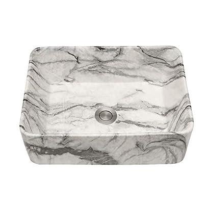 "Lordear 16""x12"" Rectangle Bathroom Sink Marble Porcelain Ceramic Vessel Sink, Rectrangular Above Counter Sink Art Basin"