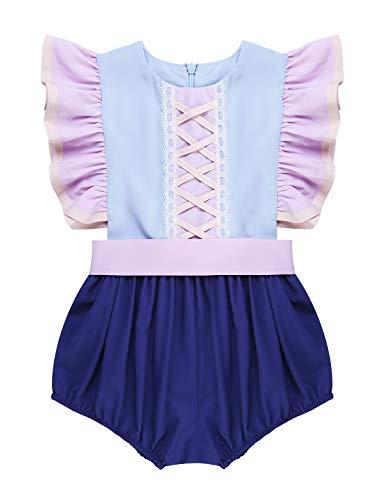 MSemis Body para Bebés Niñas Disfraz Princesa Sofía Vestido Fiesta Cumpleaños Manga Volante Camisa de Vestir Traje Bautizo Mono Divertido Recién Nacido Regalo Infantil