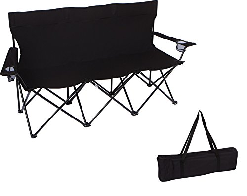 65' Triple Style Tri Camp Chair with Steel Frame and Carry Bag by Trademark Innovations (Black)