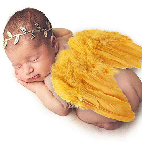 Baby Angel Wings, Newborn Baby Gold Feather Angel Wings with Headband Infant Costume Photo Prop Outfit Easter April Fools Day Gift