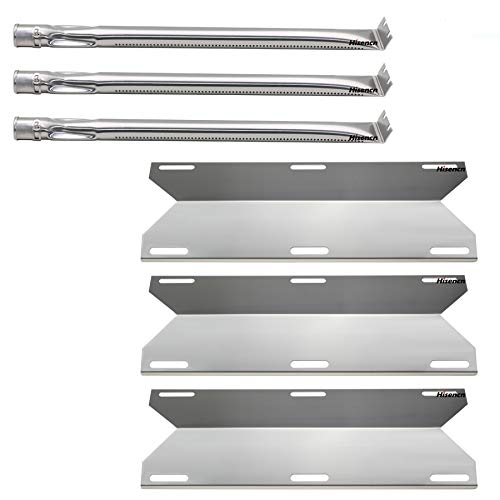 Hisencn Repair Kit Replacement for Charmglow Home Depot 3 Burner 720-0230, 720-0036-HD-05 Gas Grill Models, Stainless Steel Grill Burner Tube, Heat Plates Tent Shield, Burner Cover
