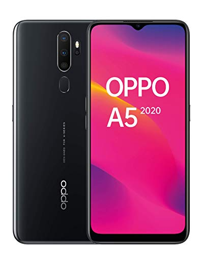 "OPPO A5 2020 - Smartphone de 6.5"" HD+, 4G Dual SIM, 3 GB/ 64 GB, Qualcomm Snapdragon 665 Octacore, cámara trasera 12 Mpx + 8 Mpx (gran angular) + 2 Mpx + 2 Mpx, 5.000 mAh, Android 9, Negro"