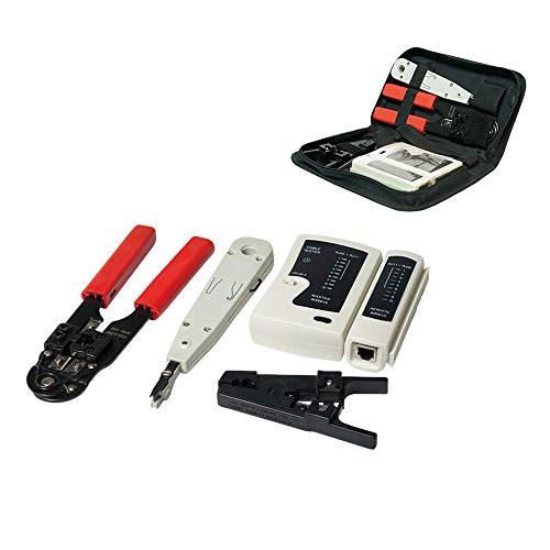 Netzwerk Werkzeug Set Werkzeug Set 4 in 1 Netzwerktasche Netzwerk Telefon Installation Kabeltester Patchkabel Tester für RJ45- RJ11-Kabel Crimpzange LSA Anlegewerkzeug Netzwerktester Kabelmesser Rj45